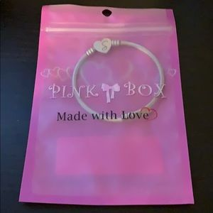 Pink Box Stainless Steel Heart Initial Bracelet